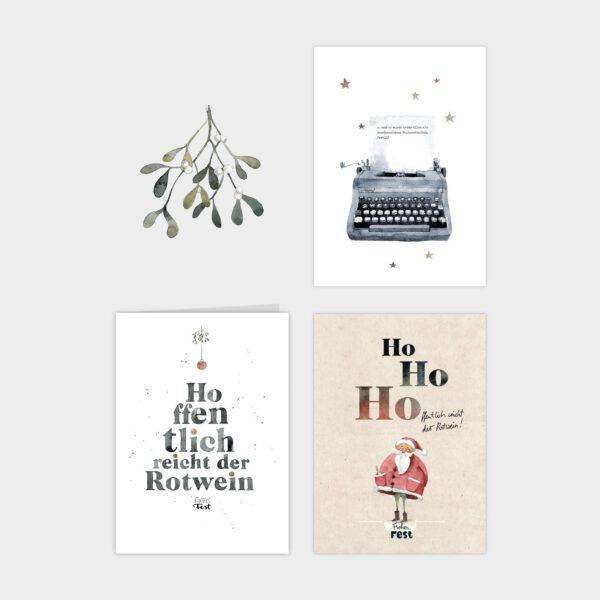 """Kartensets von Frecher Fritz. Weihnachtskarten mit den Motiven Rotweihnachtsmann, """"Hoffentlich reicht der Rotwein - Frohes Fest """" und Schreibmaschine"""