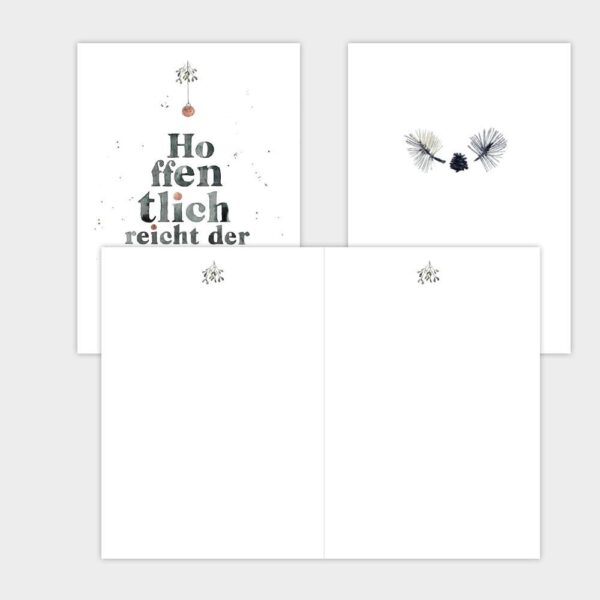 """Klappkarten für viel Text. Weihnachtskarte Aquarellzeichnung """"Hoffentlich reicht der Rotwein - Frohes Fest"""""""
