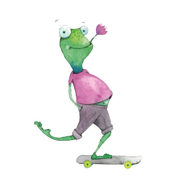 Skater Fritz auf einem Skateboard.