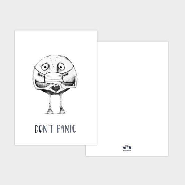 Weihnachtskarte Knollenmann mit Coronamaske Don't Panic