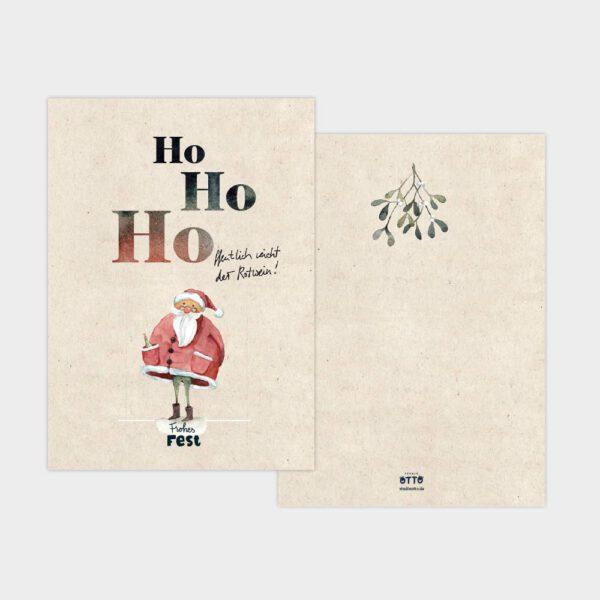 Weihnachtskarte DIN A6 Aquarellzeichnung Rotweihnachtsmann