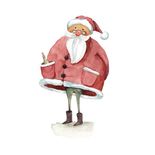 Weihnachtskarte Aquarellzeichnung Rotweihnachtsmann