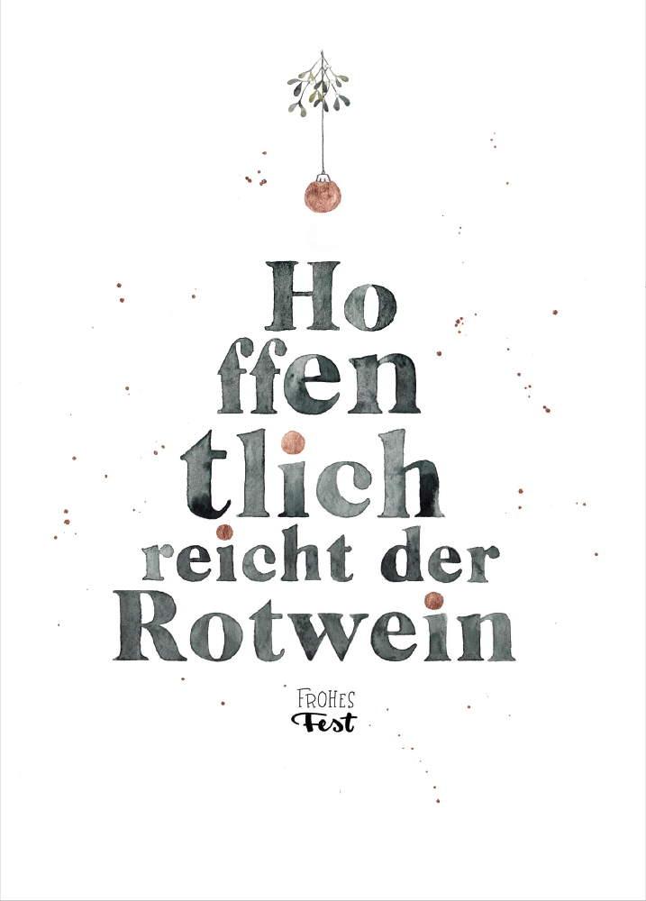 """Weihnachtskarten von Frecher Fritz. Weihnachtskarte Aquarellzeichnung """"Hoffentlich reicht der Rotwein - Frohes Fest"""""""