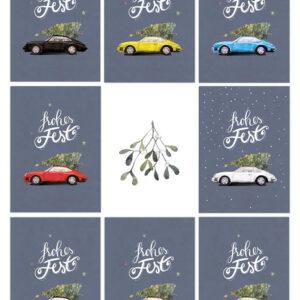 Weihnachtskarte Porsche 911 in acht Farben. Größe DIN A6