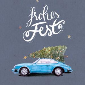 Weihnachtskarte blauer Porsche 911 mit Tannenbaum, DIN A6