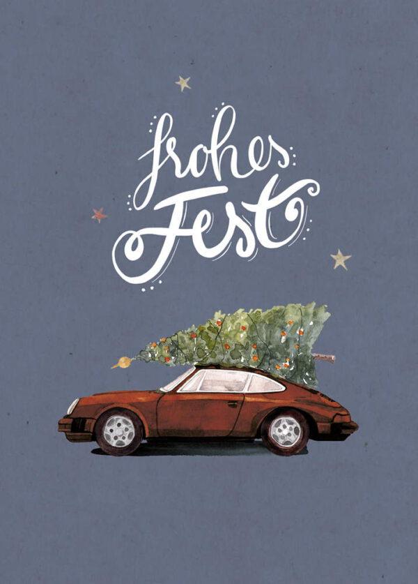 Weihnachtskarte brauner Porsche 911 mit Tannenbaum, DIN A6