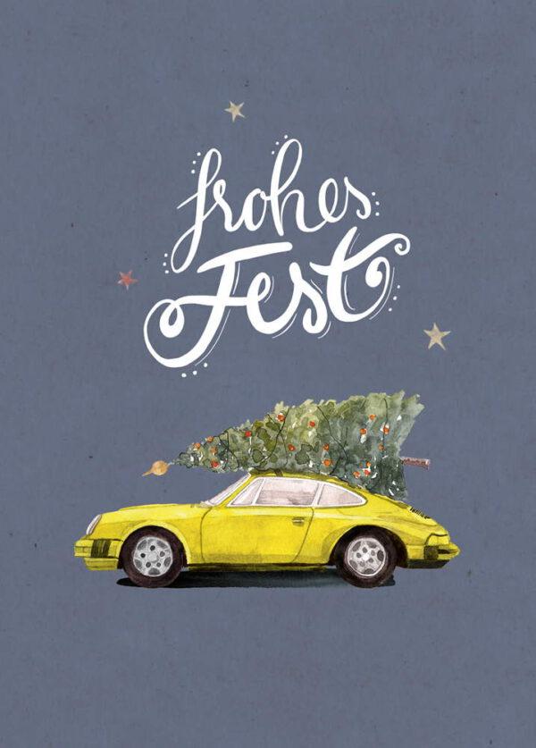 Weihnachtskarte gelber Porsche 911 mit Tannenbaum, DIN A6