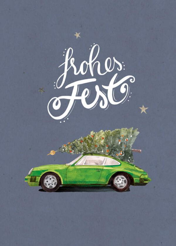 Weihnachtskarte grüner Porsche 911 mit Tannenbaum, DIN A6