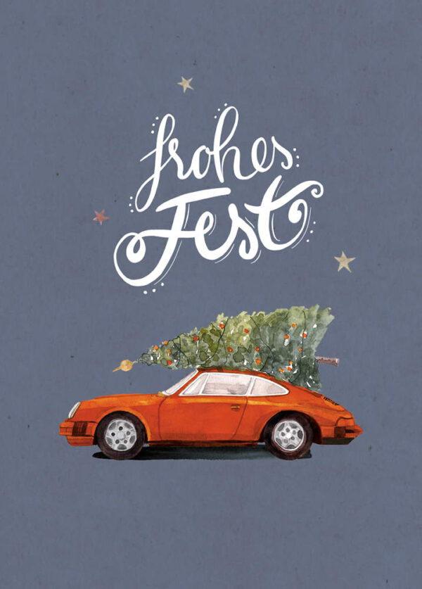 Weihnachtskarte oranger Porsche 911 mit Tannenbaum, DIN A6