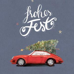 Weihnachtskarte roter Porsche 911 mit Tannenbaum, DIN A6