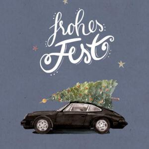 Weihnachtskarte schwarzer Porsche 911 mit Tannenbaum, DIN A6