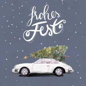 Weihnachtskarte Porsche 911, Farbe weiß, DIN A6