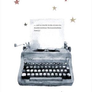Weihnachtskarte Schreibmaschine
