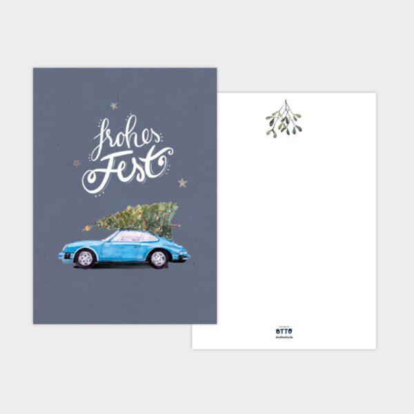 Weihnachtskarte blauer Porsche 911 mit Tannenbaum