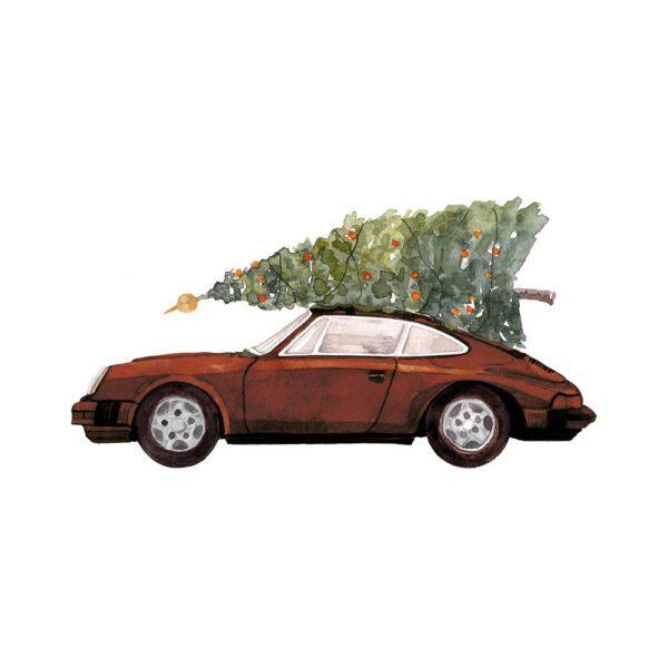 Weihnachtskarte brauner Porsche 911 mit Tannenbaum