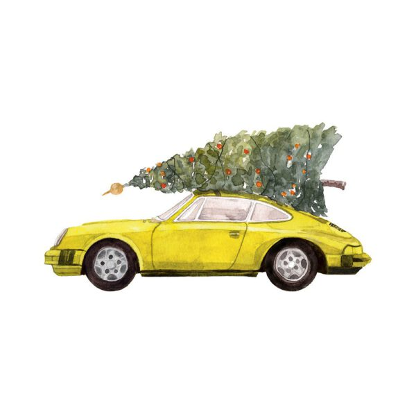 Weihnachtskarte gelber Porsche 911 mit Tannenbaum