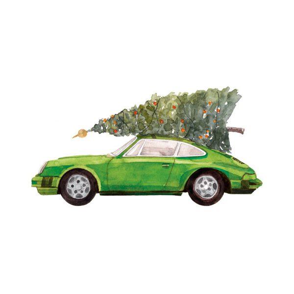 Weihnachtskarte grüner Porsche 911 mit Tannenbaum