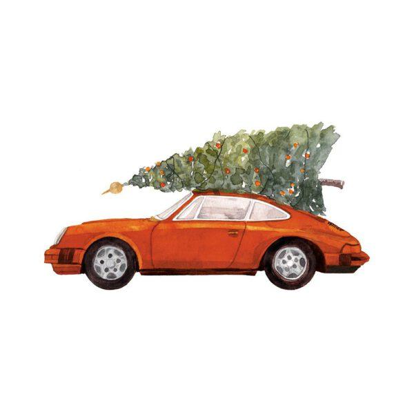 Weihnachtskarte oranger Porsche 911 mit Tannenbaum