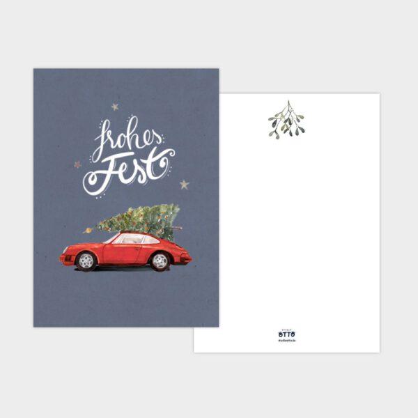 Weihnachtskarte roter Porsche 911 mit Tannenbaum
