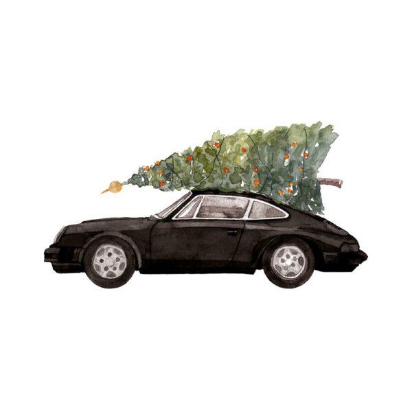 Weihnachtskarte schwarzer Porsche 911 mit Tannenbaum