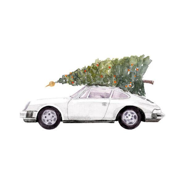 Weihnachtskarte Porsche 911, Farbe weiß
