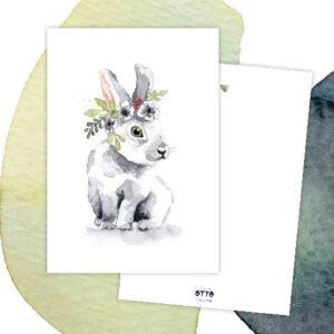 Grußkarte Blumenhase für den Frühling und Ostern
