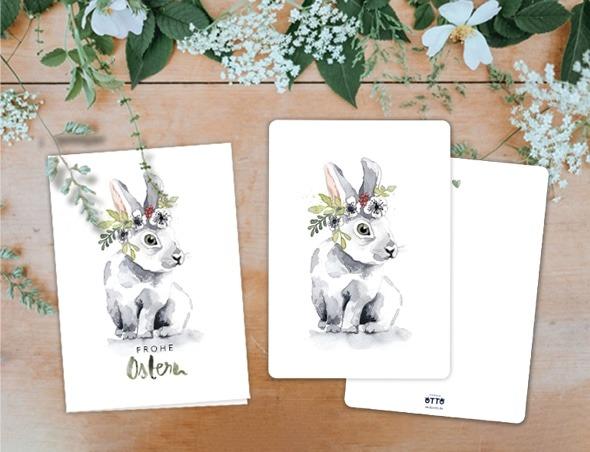 Osterkarten mit einem Hasen, der einen Blumenkranz trägt. Eine Osterkarte von frecher Fritz. Jetzt bestellen.