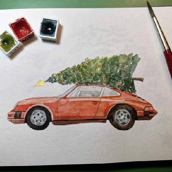 Eine Porsche Weihnachtskarte entsteht als Aquarellzeichnung.